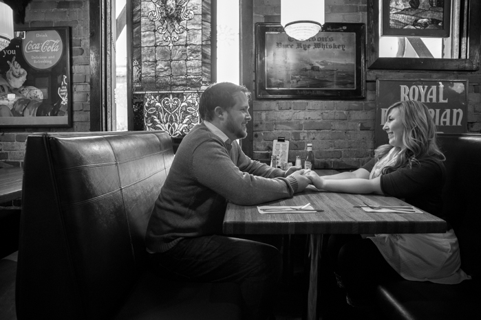 An engagement session on Lake Superior and in Grandma's Bar and Grill restaurant