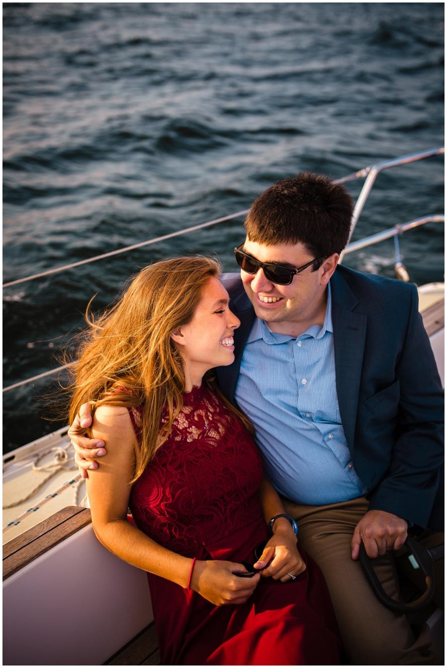 Milwaukee Wedding Photographer_Boat Engagement_Lakefront Sunset