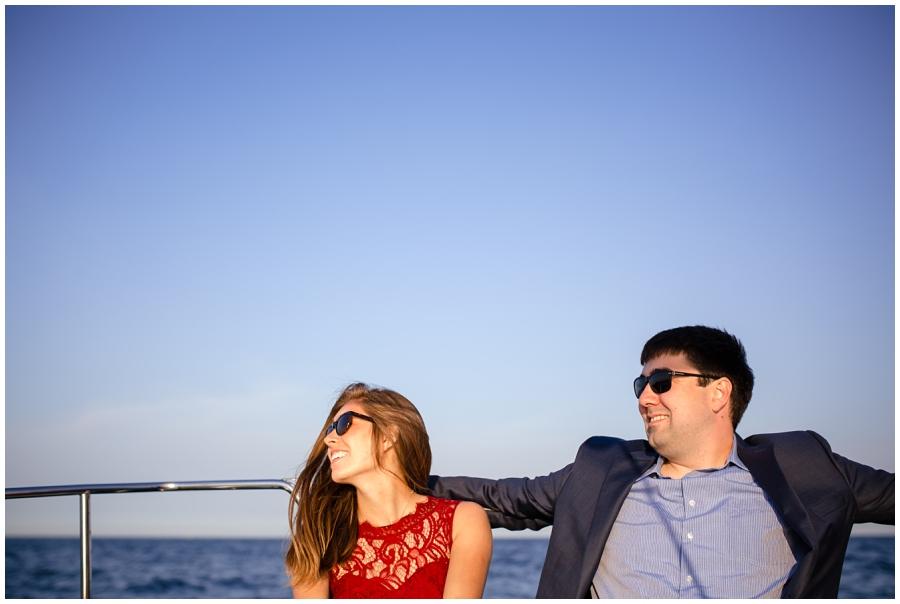 Lake Michigan sailing engagement pictures