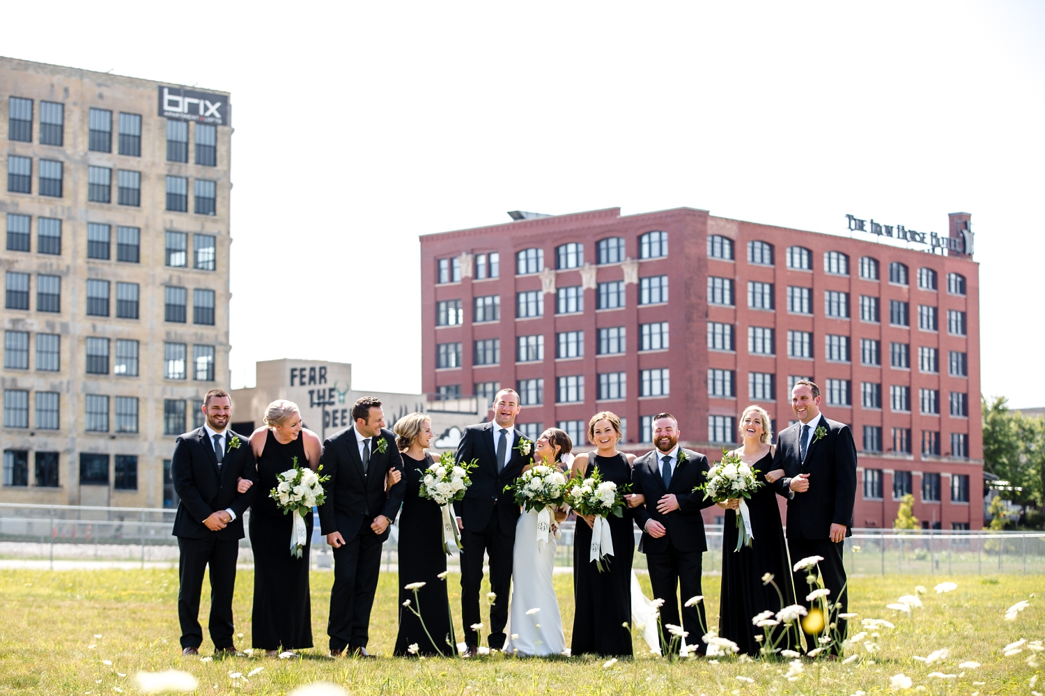 Walker's Point Wedding Pictures_Reed Street Yard Park_ Milwaukee Water Business Park_Photographer_Elegant Dresses