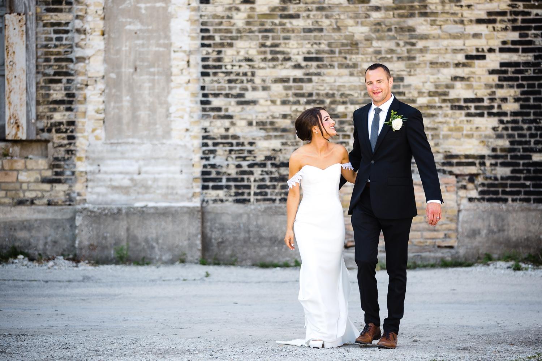 Walker's Point Bride and Groom_Milwaukee Photographer_Elegant Dresses