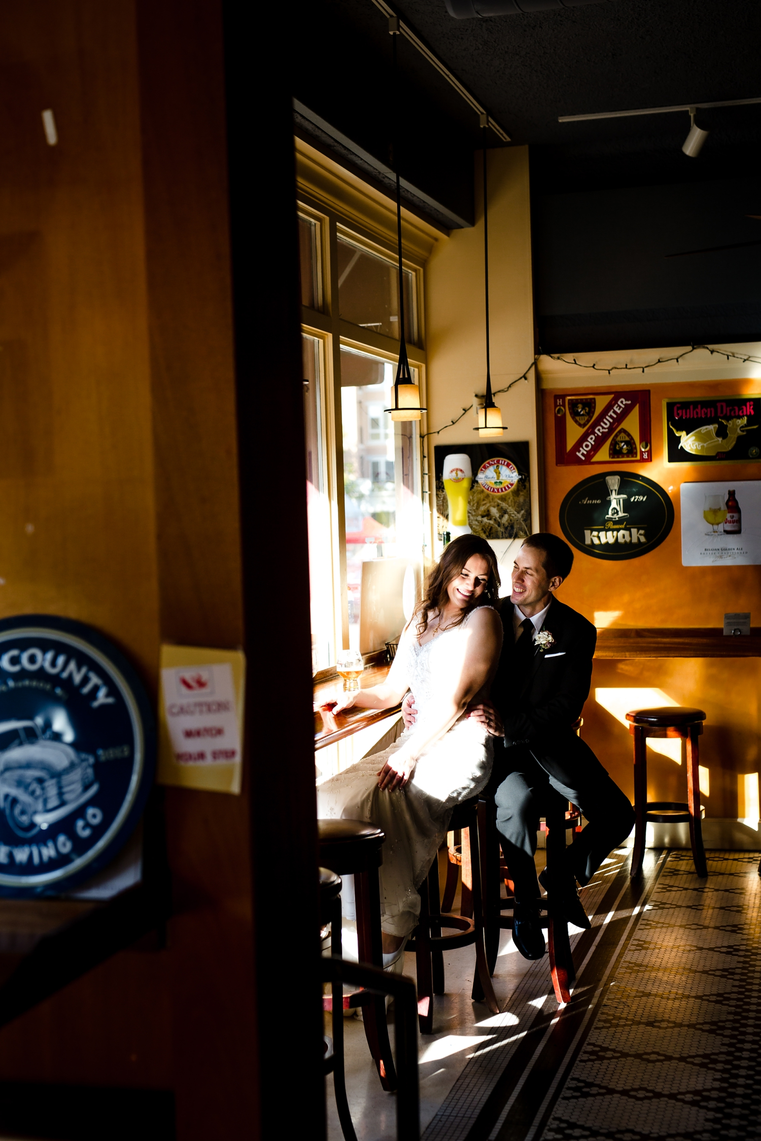 Bride and groom pictures at Brasserie V in Madison_Milwaukee Photographer