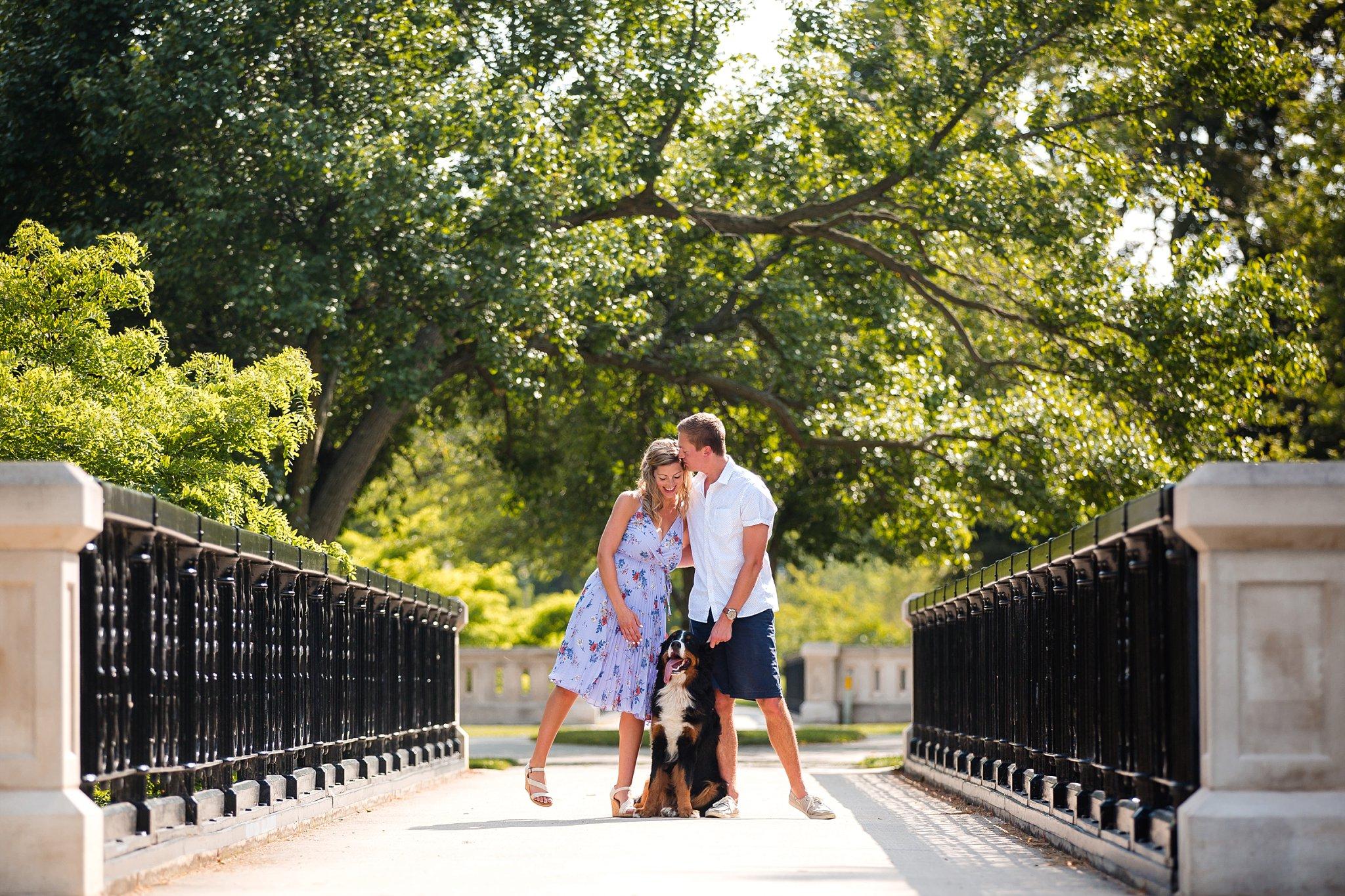 Lake Park_Engagement Photographer_With bernese mountain dog